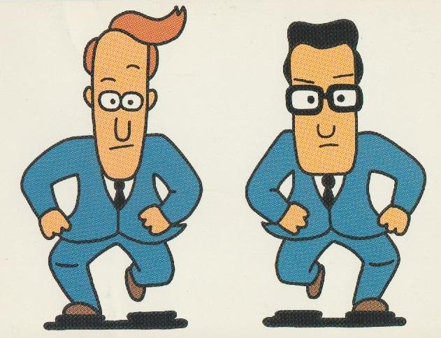 Cartoony John and John wearing blue suits run towards the camera.