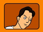 Linnell from the I Am Not Your Broom video on an orange background.