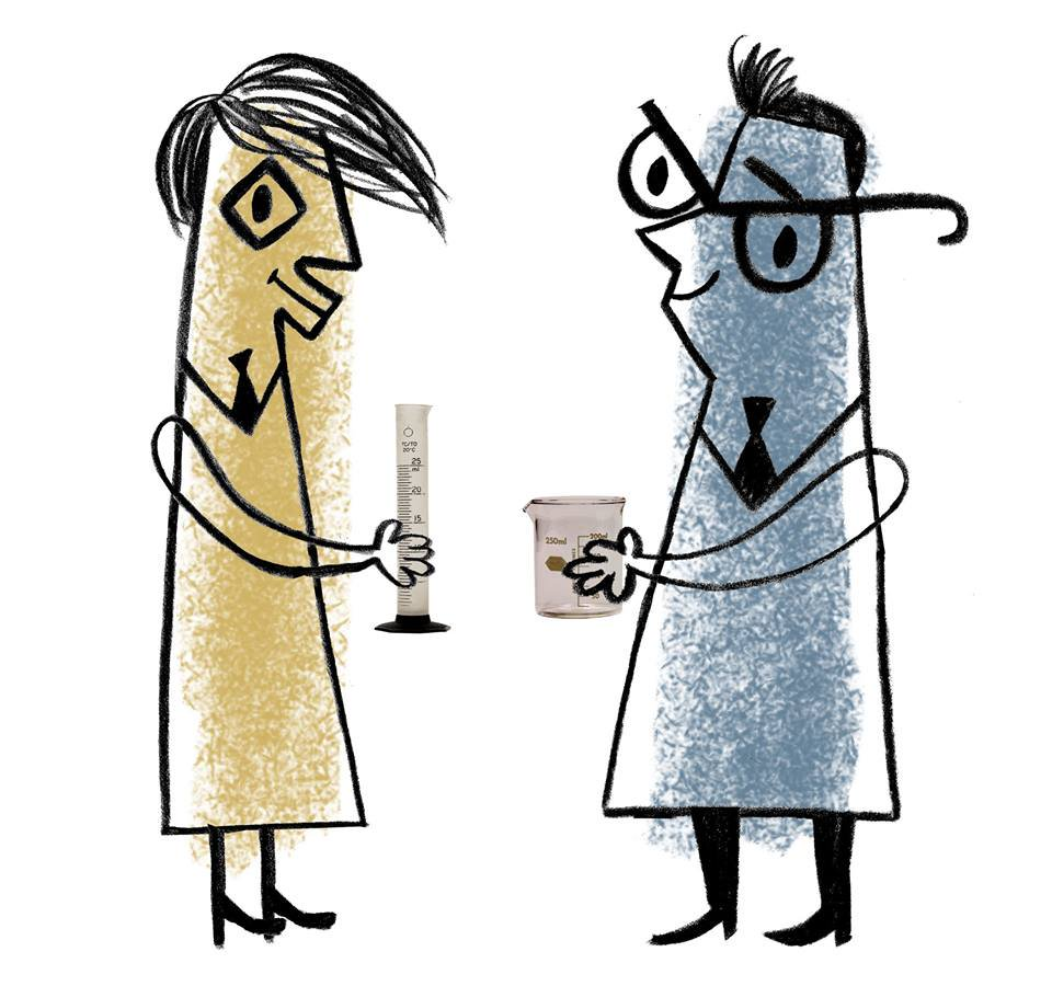 Johns drawn dressed as scientists holding beakers. JL is yellow and JF is blue.